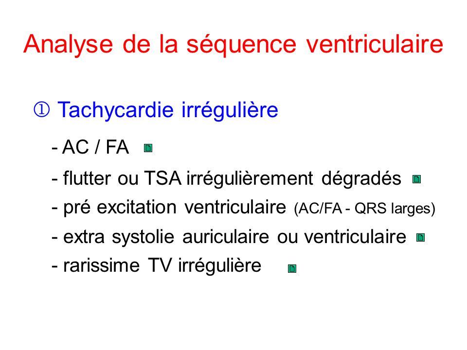 Analyse de la séquence ventriculaire Tachycardie irrégulière - pré excitation ventriculaire (AC/FA - QRS larges) - AC / FA - flutter ou TSA irrégulièrement dégradés - extra systolie auriculaire ou ventriculaire - rarissime TV irrégulière