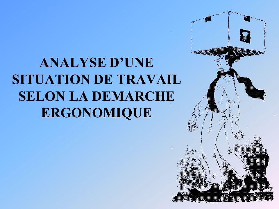 ANALYSE DUNE SITUATION DE TRAVAIL SELON LA DEMARCHE ERGONOMIQUE