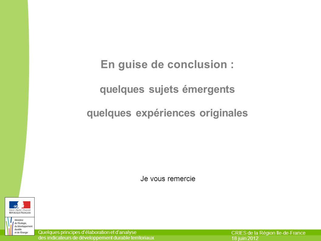 Quelques principes délaboration et danalyse des indicateurs de développement durable territoriaux CRIES de la Région Ile-de-France 18 juin 2012 En gui