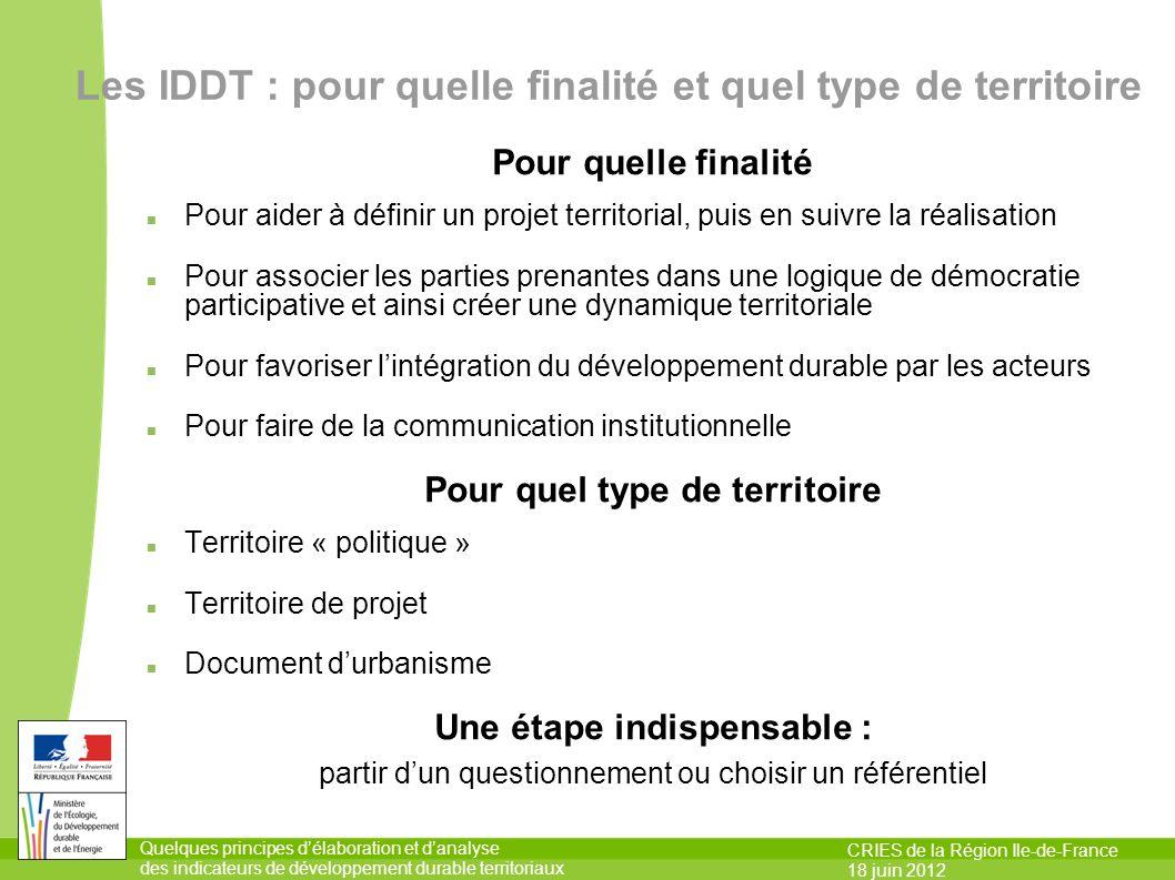 Quelques principes délaboration et danalyse des indicateurs de développement durable territoriaux CRIES de la Région Ile-de-France 18 juin 2012 Les ID