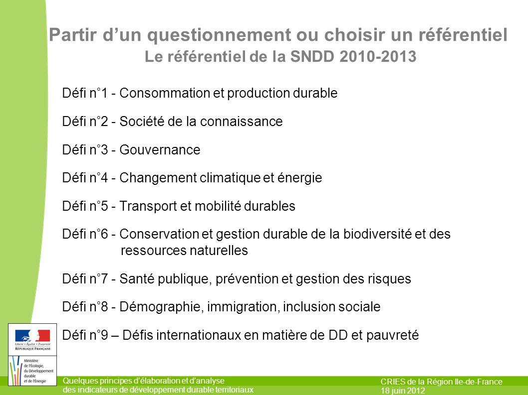 Quelques principes délaboration et danalyse des indicateurs de développement durable territoriaux CRIES de la Région Ile-de-France 18 juin 2012 Partir