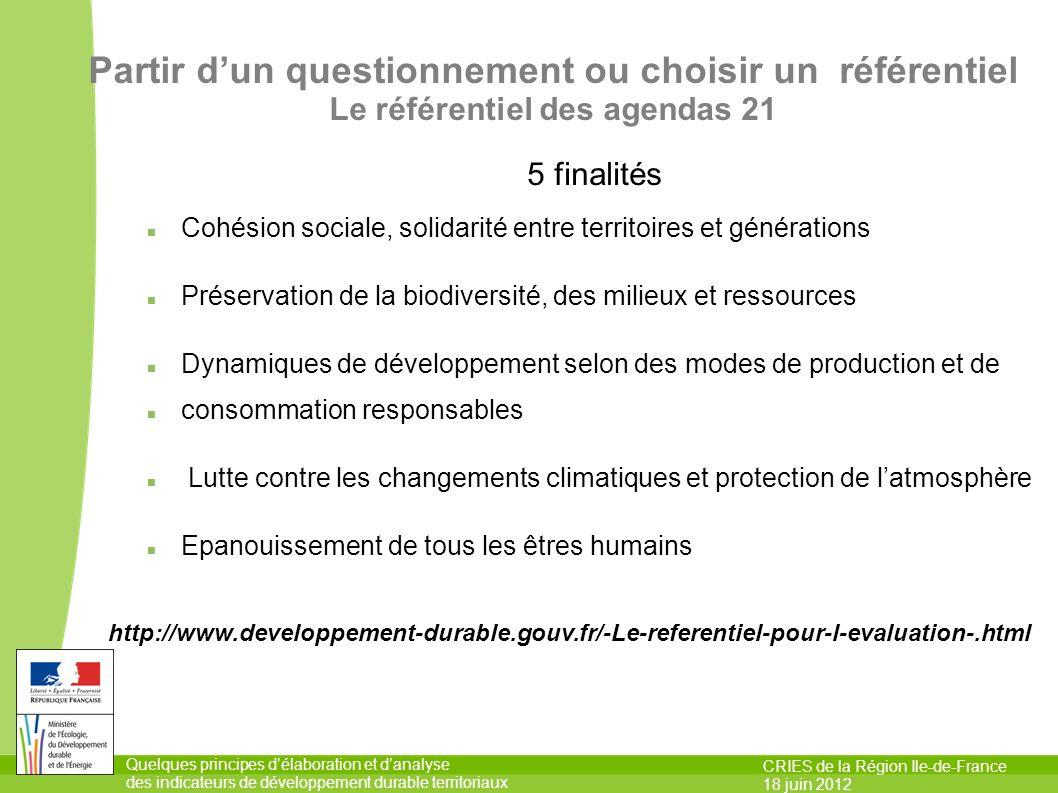 Quelques principes délaboration et danalyse des indicateurs de développement durable territoriaux CRIES de la Région Ile-de-France 18 juin 2012 5 fina