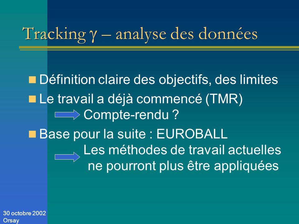 30 octobre 2002 Orsay Tracking – analyse des données Définition claire des objectifs, des limites Le travail a déjà commencé (TMR) Compte-rendu .