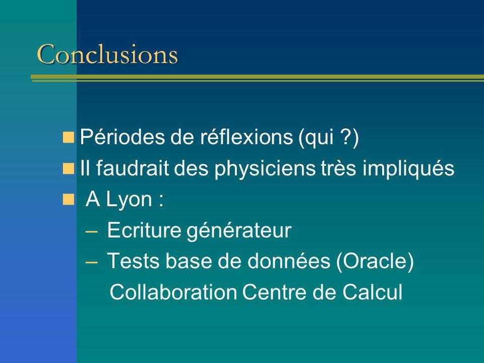 Conclusions Périodes de réflexions (qui ) Il faudrait des physiciens très impliqués A Lyon : – Ecriture générateur – Tests base de données (Oracle) Collaboration Centre de Calcul