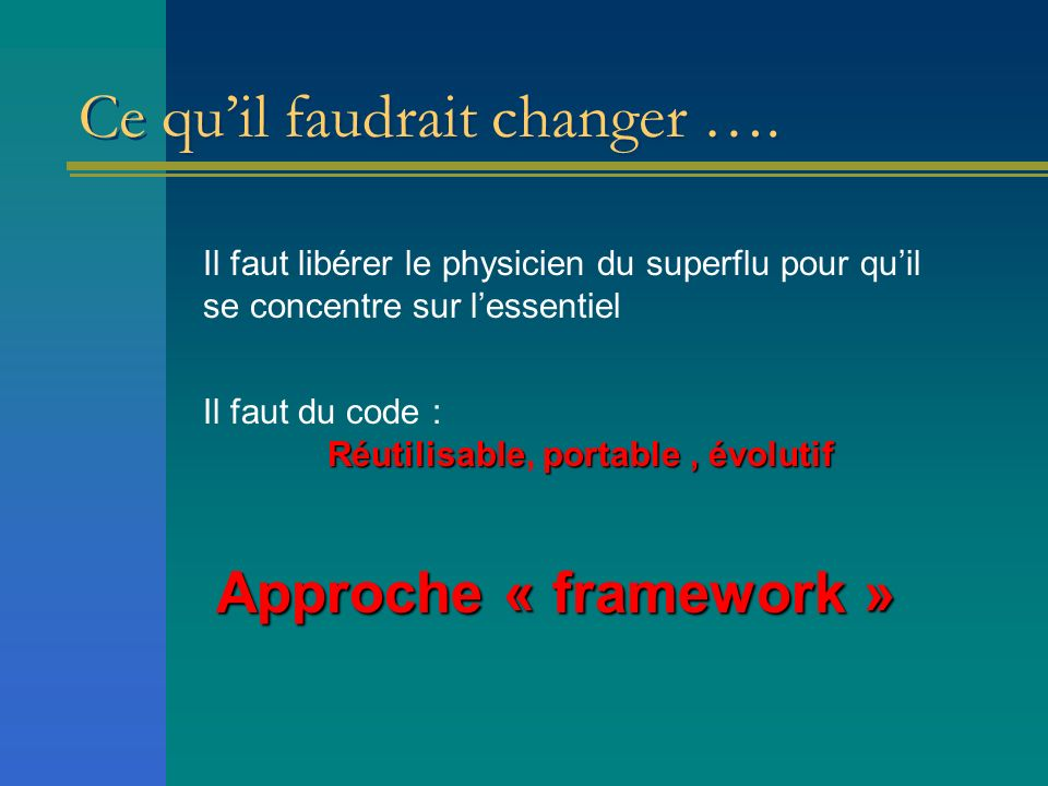 Ce quil faudrait changer ….