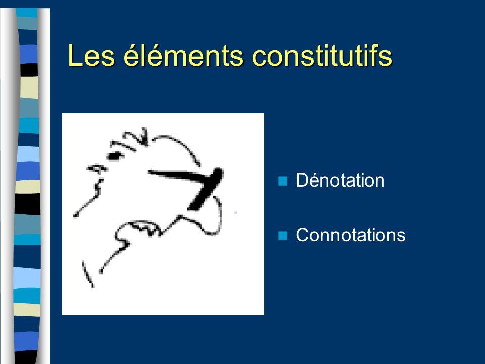 Les éléments constitutifs Dénotation Connotations
