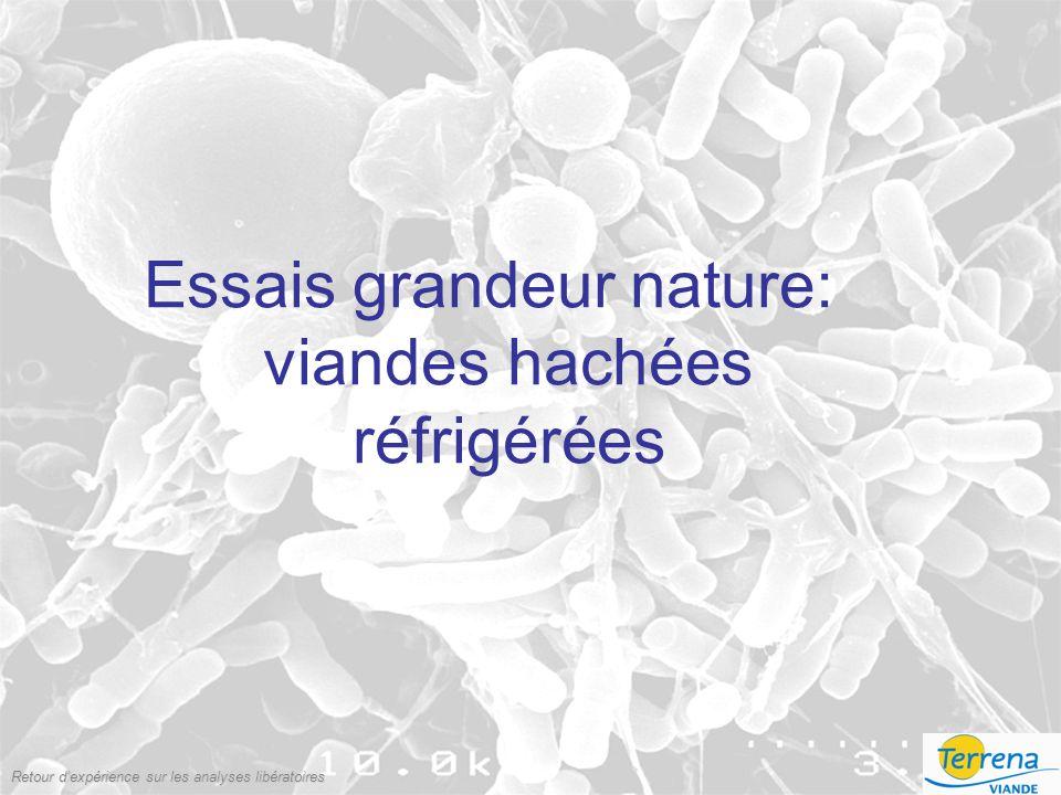 Retour dexpérience sur les analyses libératoires Essais grandeur nature: viandes hachées réfrigérées