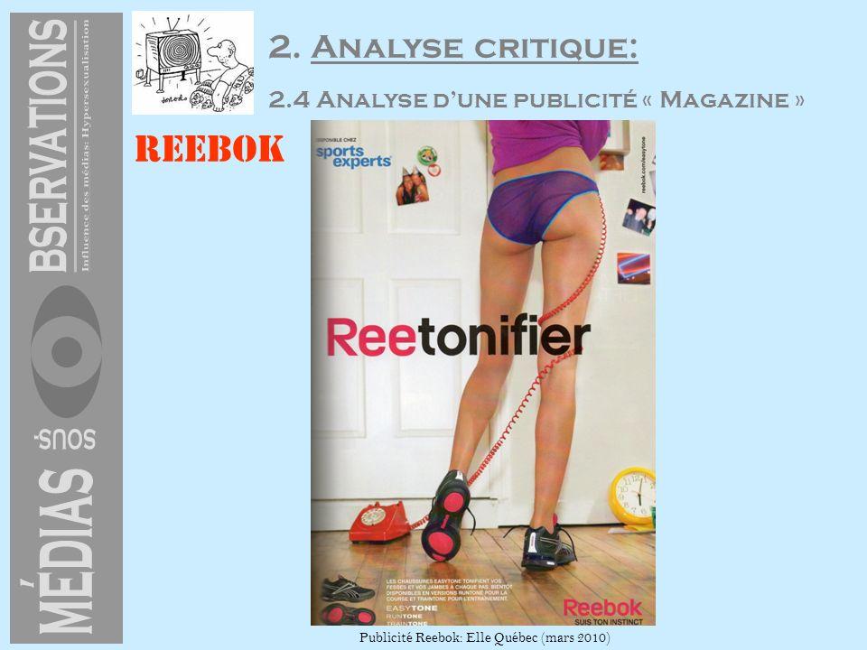 2. Analyse critique: 2.4 Analyse dune publicité « Magazine » Reebok Publicité Reebok: Elle Québec (mars 2010)