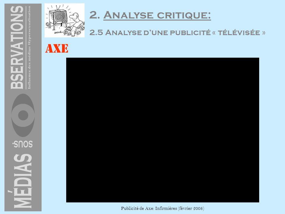 Axe Publicité de Axe: Infirmières (février 2008) 2. Analyse critique: 2.5 Analyse dune publicité « télévisée »