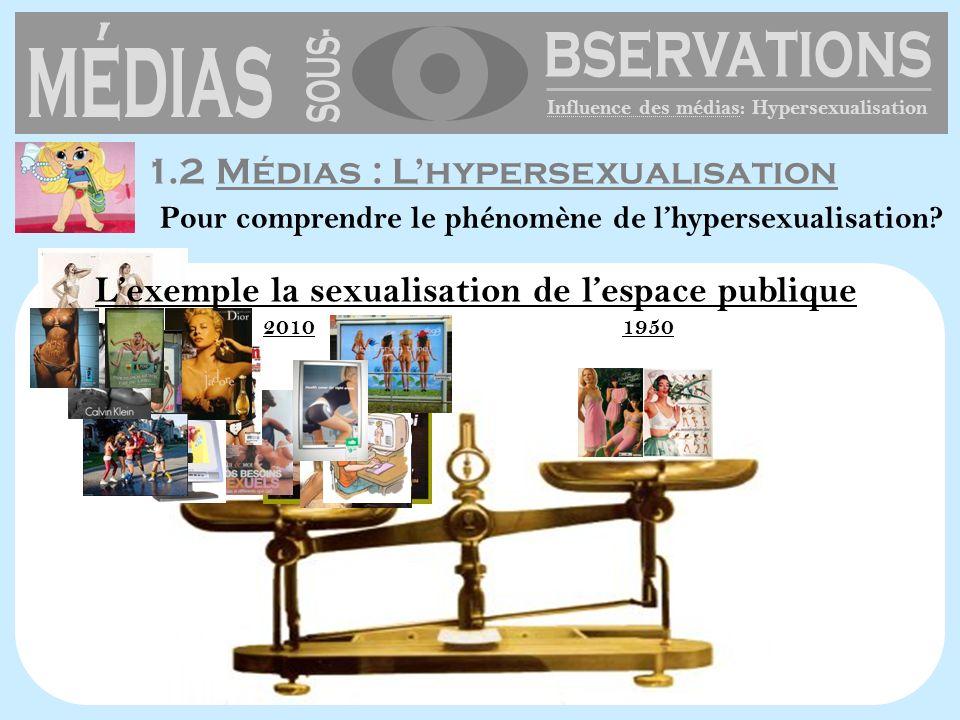 20101950 1.2 Médias : Lhypersexualisation Influence des médias: Hypersexualisation Pour comprendre le phénomène de lhypersexualisation? Lexemple la se