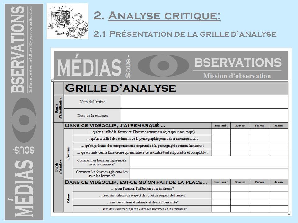 2. Analyse critique: 2.1 Présentation de la grille danalyse