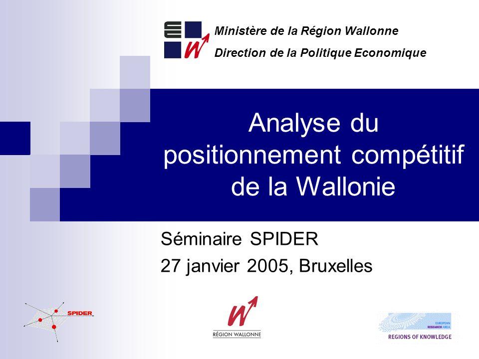 Analyse du positionnement compétitif de la Wallonie Séminaire SPIDER 27 janvier 2005, Bruxelles Ministère de la Région Wallonne Direction de la Politique Economique