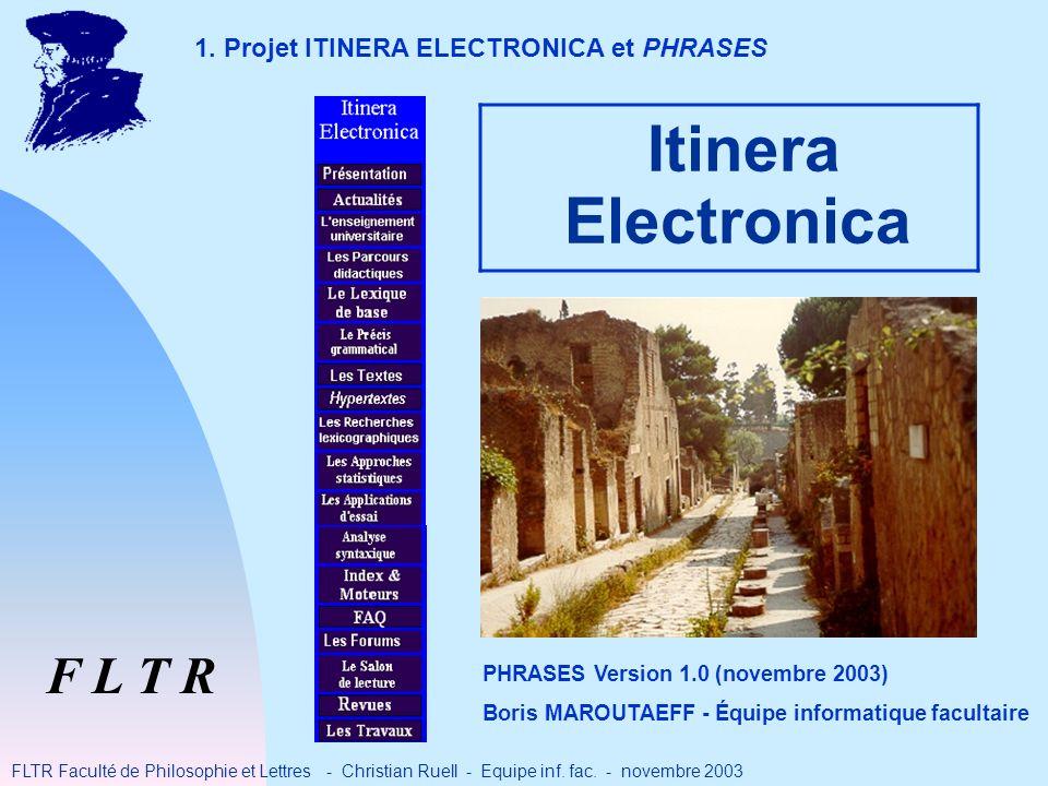 Itinera Electronica F L T R FLTR Faculté de Philosophie et Lettres - Christian Ruell - Equipe inf.