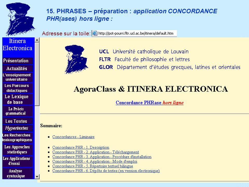 15. PHRASES – préparation : application CONCORDANCE PHR(ases) hors ligne : Adresse sur la toile: