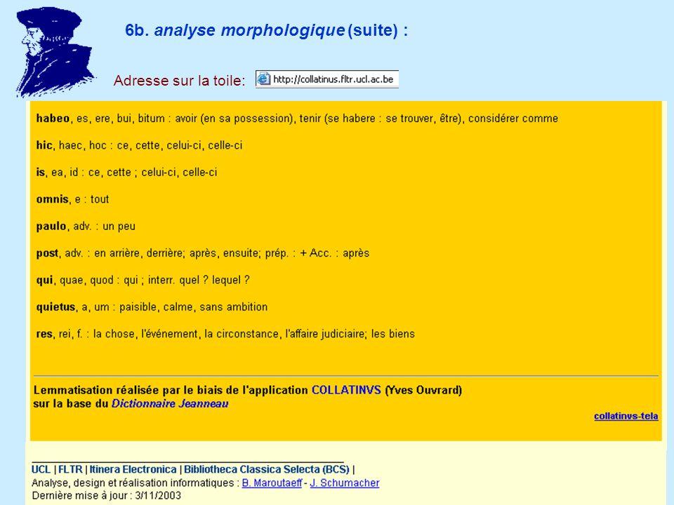 6b. analyse morphologique (suite) : Adresse sur la toile: