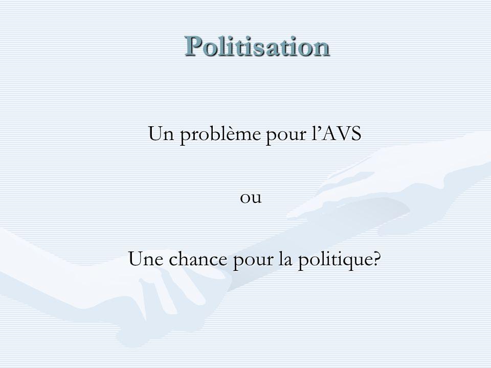 Politisation Politisation Un problème pour lAVS ou ou Une chance pour la politique?