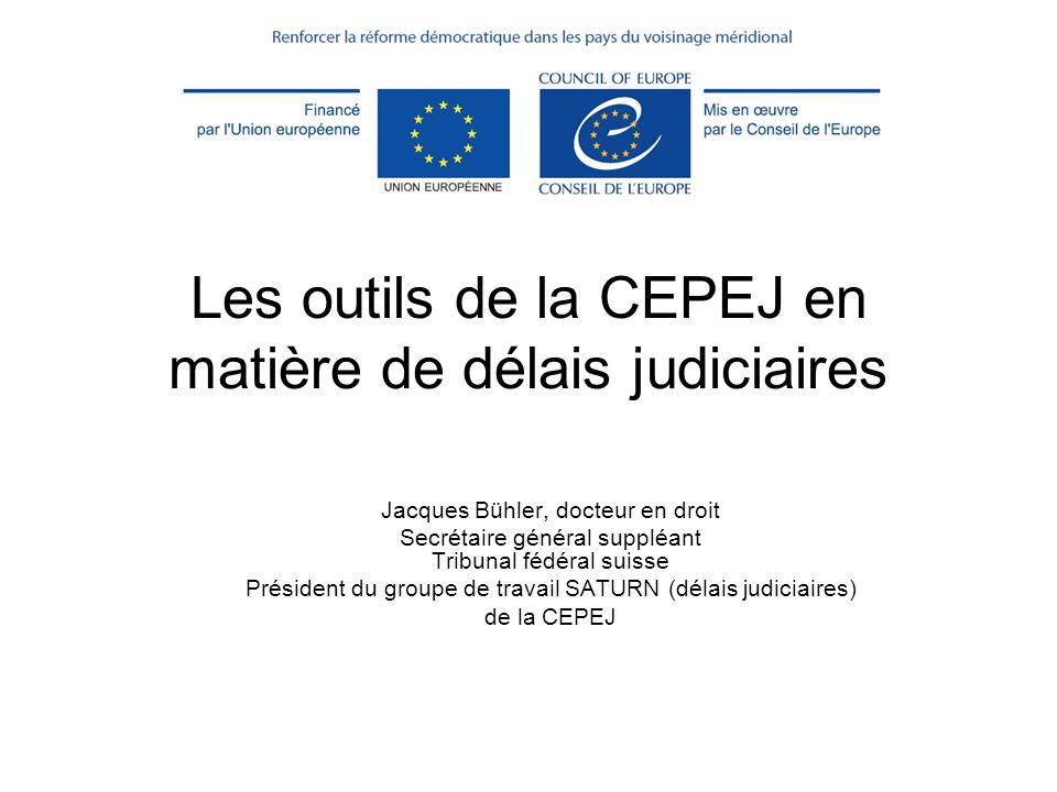 Les outils de la CEPEJ en matière de délais judiciaires Jacques Bühler, docteur en droit Secrétaire général suppléant Tribunal fédéral suisse Présiden