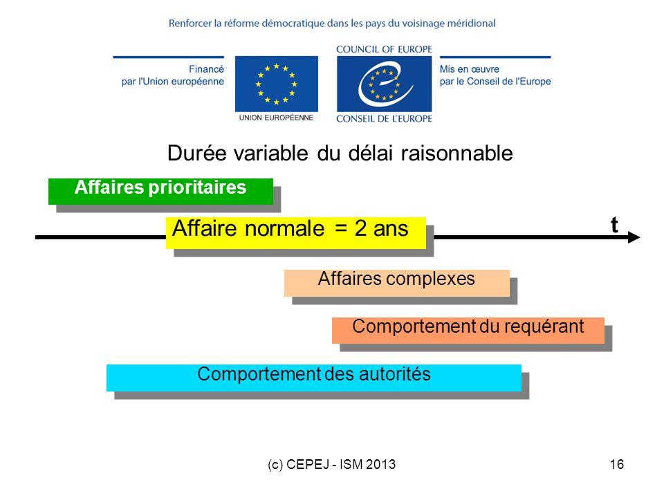 (c) CEPEJ - ISM 201316 Durée variable du délai raisonnable Affaires complexes Comportement du requérant Affaires prioritaires Comportement des autorit