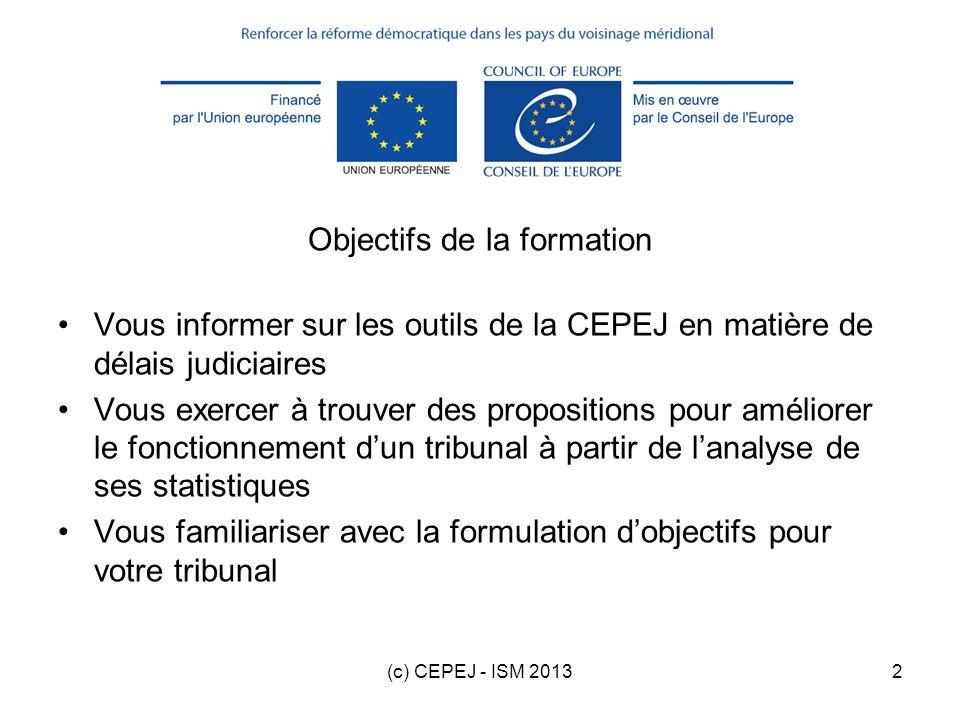 (c) CEPEJ - ISM 20132 Objectifs de la formation Vous informer sur les outils de la CEPEJ en matière de délais judiciaires Vous exercer à trouver des p