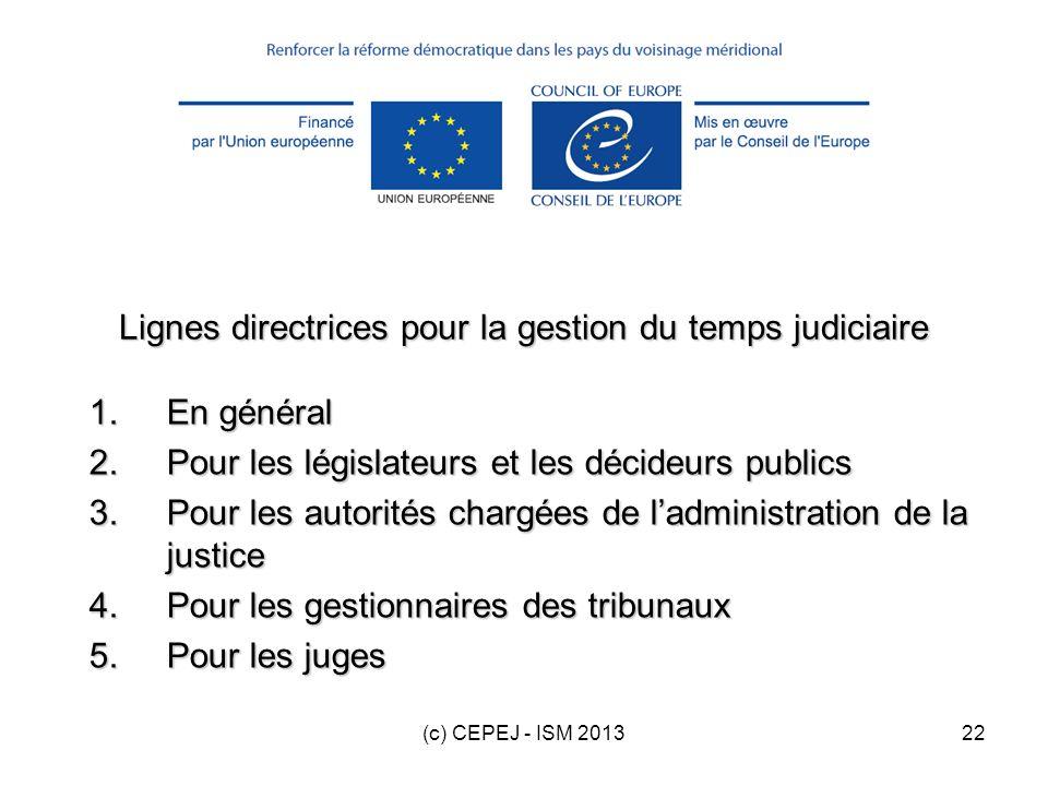 (c) CEPEJ - ISM 201322 Lignes directrices pour la gestion du temps judiciaire 1.En général 2.Pour les législateurs et les décideurs publics 3.Pour les