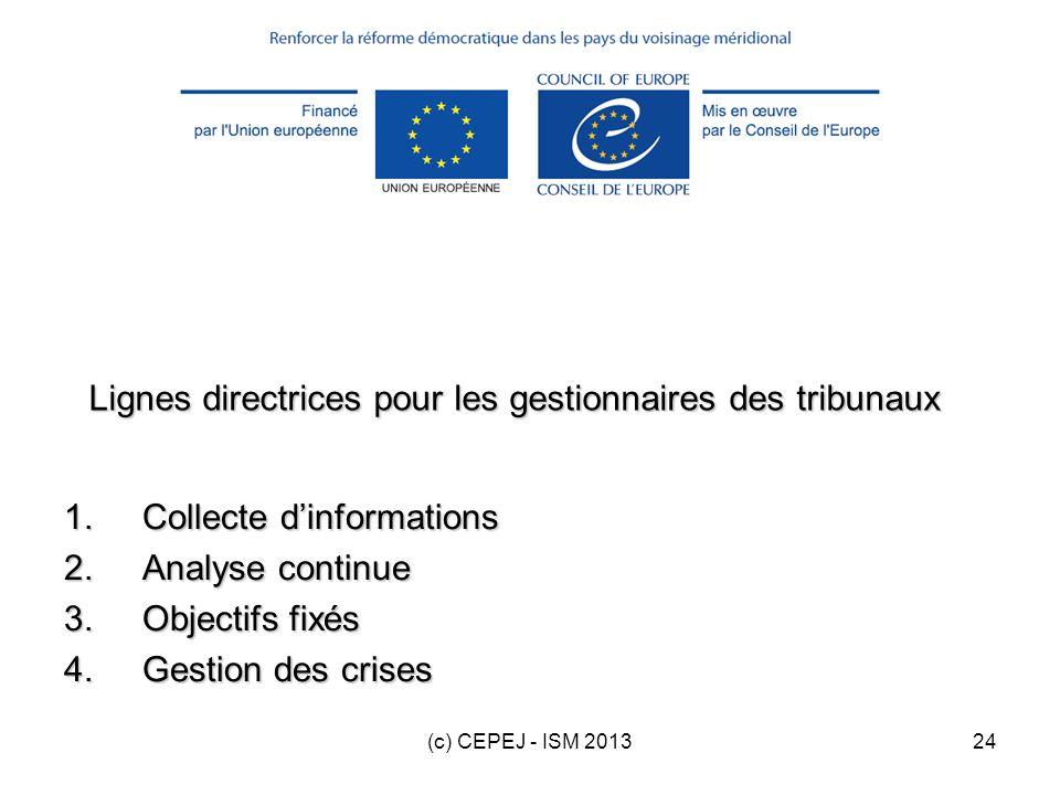 (c) CEPEJ - ISM 201324 Lignes directrices pour les gestionnaires des tribunaux 1.Collecte dinformations 2.Analyse continue 3.Objectifs fixés 4.Gestion