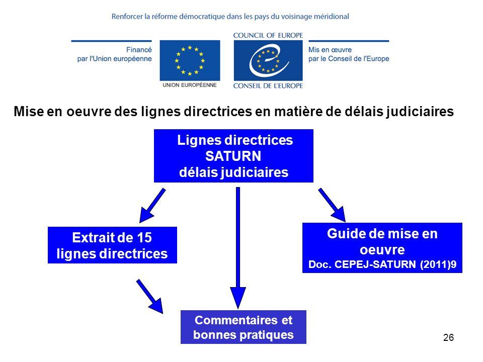 (c) CEPEJ Maggio 201326 Extrait de 15 lignes directrices Lignes directrices SATURN délais judiciaires Guide de mise en oeuvre Doc. CEPEJ-SATURN (2011)