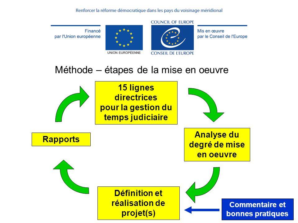 (c) CEPEJ - ISM 201327 Méthode – étapes de la mise en oeuvre 15 lignes directrices pour la gestion du temps judiciaire Analyse du degré de mise en oeu