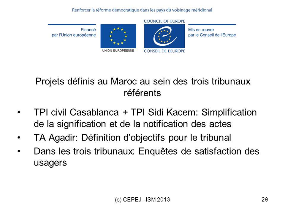 (c) CEPEJ - ISM 201329 Projets définis au Maroc au sein des trois tribunaux référents TPI civil Casablanca + TPI Sidi Kacem: Simplification de la sign