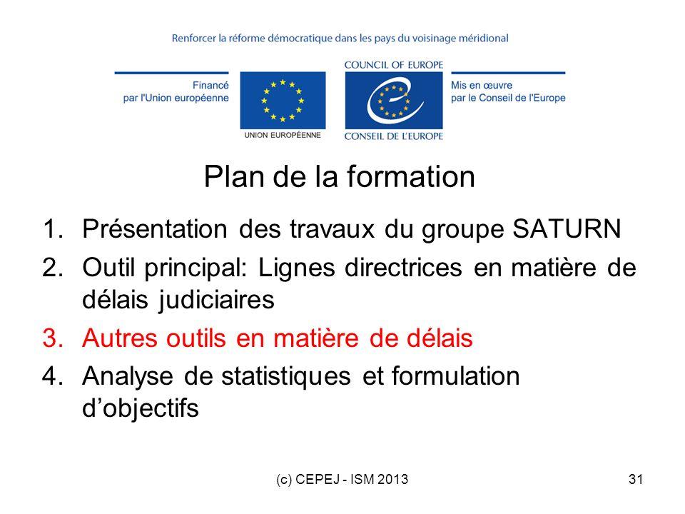 (c) CEPEJ - ISM 201331 Plan de la formation 1.Présentation des travaux du groupe SATURN 2.Outil principal: Lignes directrices en matière de délais jud