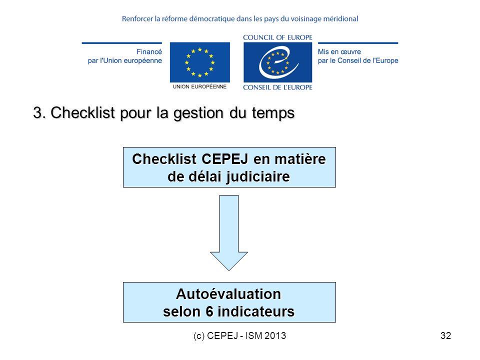 (c) CEPEJ - ISM 201332 3. Checklist pour la gestion du temps Checklist CEPEJ en matière de délai judiciaire Autoévaluation selon 6 indicateurs