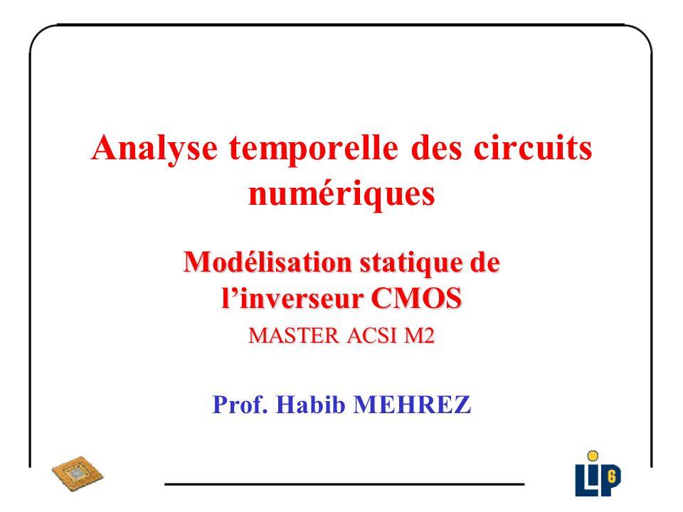Modèle statique de l inverseur CMOS Zone E E > V DD + V TP => I P =0 TP bloqué S < E – V TN => TN ohmique I N = K n [2(E – V TN )S –S 2 ]= 0 => S=0
