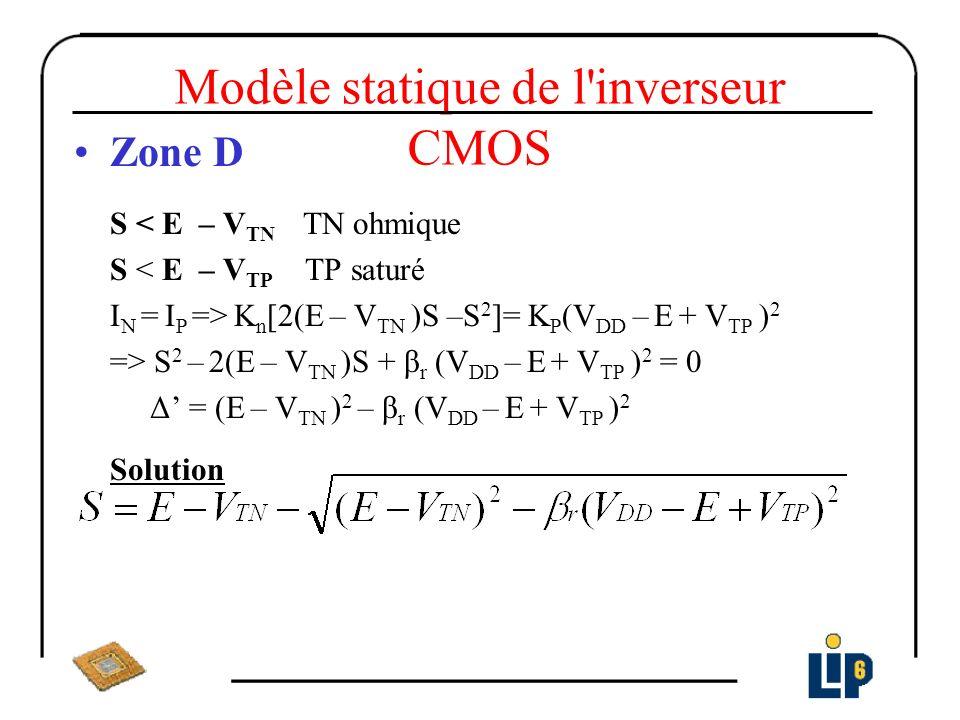 Modèle statique de l'inverseur CMOS Zone D S < E – V TN TN ohmique S < E – V TP TP saturé I N = I P => K n [2(E – V TN )S –S 2 ]= K P (V DD – E + V TP