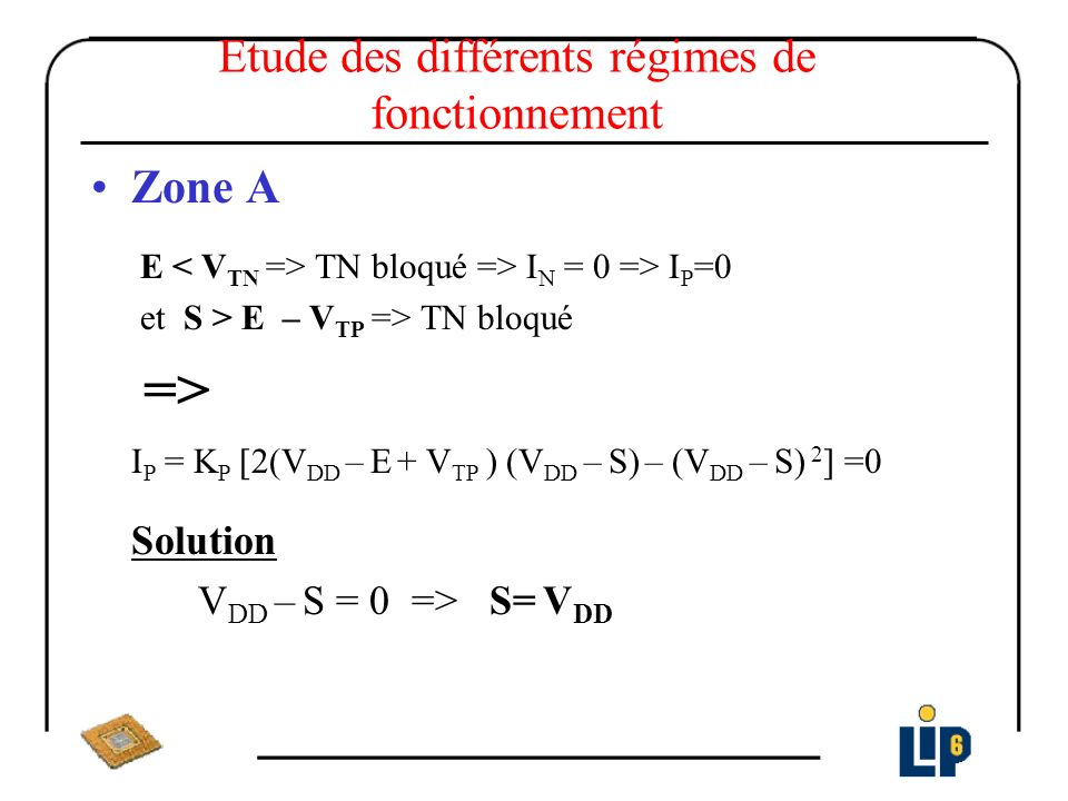 Etude des différents régimes de fonctionnement Zone B E > V TN et S > E – V TN TN saturé S > E – V TP TP ohmique I N = K n (E – V TN ) 2 I P = K P [2(V DD – E + V TP ) (V DD – S) – (V DD – S) 2 ] I N = I P on pose et σ = V DD – S => σ 2 – 2 σ (V DD – E + V TP ) +(E – V TN ) 2 /β r = 0 σ = (V DD – E + V TP ) – (E – V TN ) 2 /β r Solution => S = V DD – σ =