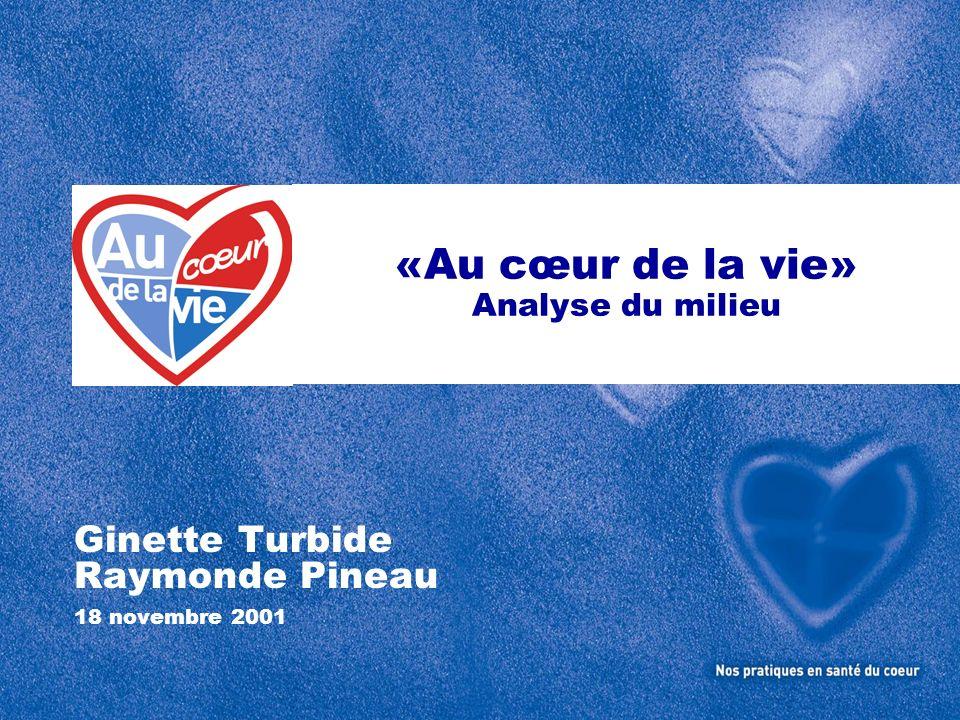 «Au cœur de la vie» Analyse du milieu Ginette Turbide Raymonde Pineau 18 novembre 2001