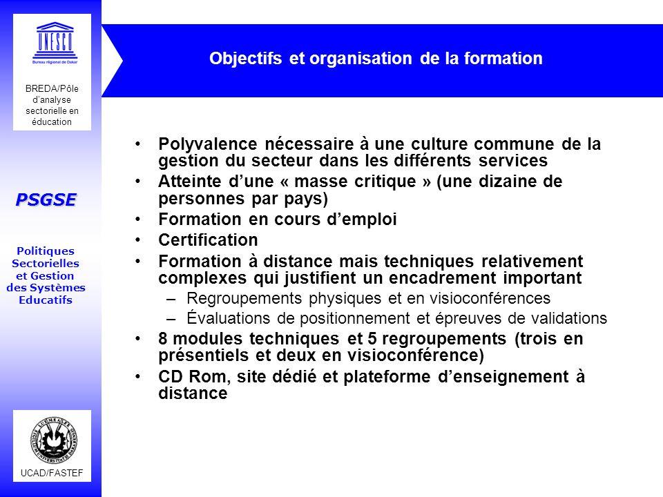 UCAD/FASTEF BREDA/Pôle danalyse sectorielle en éducation PSGSE Politiques Sectorielles et Gestion des Systèmes Educatifs Objectifs et organisation de