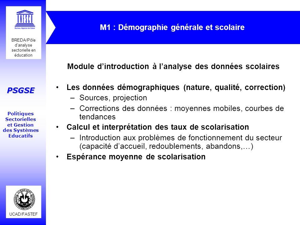 UCAD/FASTEF BREDA/Pôle danalyse sectorielle en éducation PSGSE Politiques Sectorielles et Gestion des Systèmes Educatifs M1 : Démographie générale et