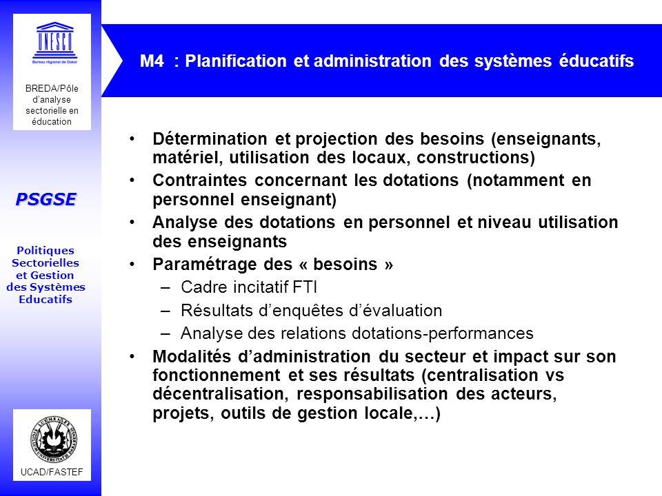 UCAD/FASTEF BREDA/Pôle danalyse sectorielle en éducation PSGSE Politiques Sectorielles et Gestion des Systèmes Educatifs M4 : Planification et adminis