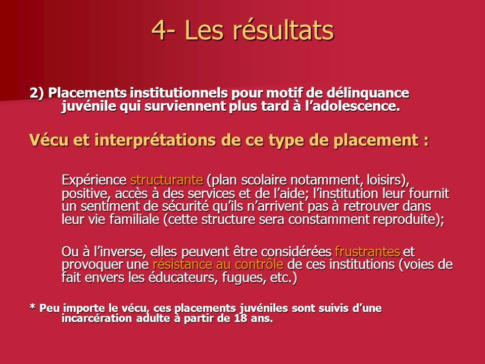 4- Les résultats 2) Placements institutionnels pour motif de délinquance juvénile qui surviennent plus tard à ladolescence.
