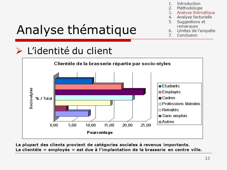 13 Analyse thématique Lidentité du client La plupart des clients provient de catégories sociales à revenus importants. La clientèle « employés » est d