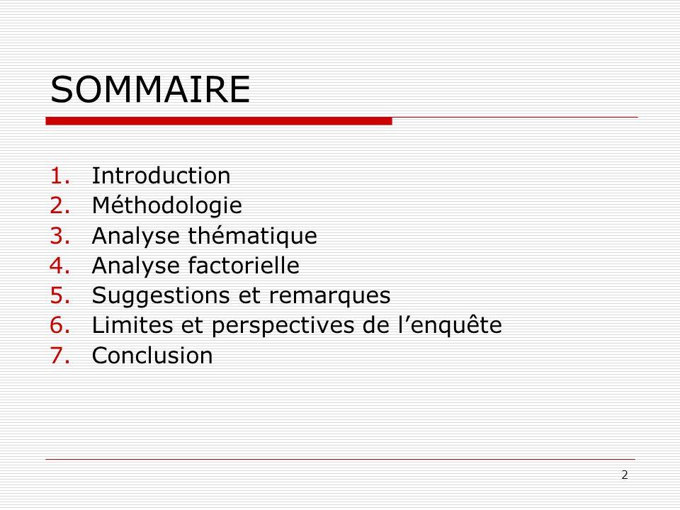 2 SOMMAIRE 1.Introduction 2.Méthodologie 3.Analyse thématique 4.Analyse factorielle 5.Suggestions et remarques 6.Limites et perspectives de lenquête 7