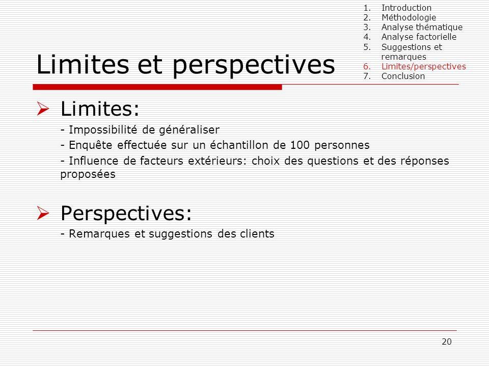 20 Limites et perspectives Limites: - Impossibilité de généraliser - Enquête effectuée sur un échantillon de 100 personnes - Influence de facteurs ext