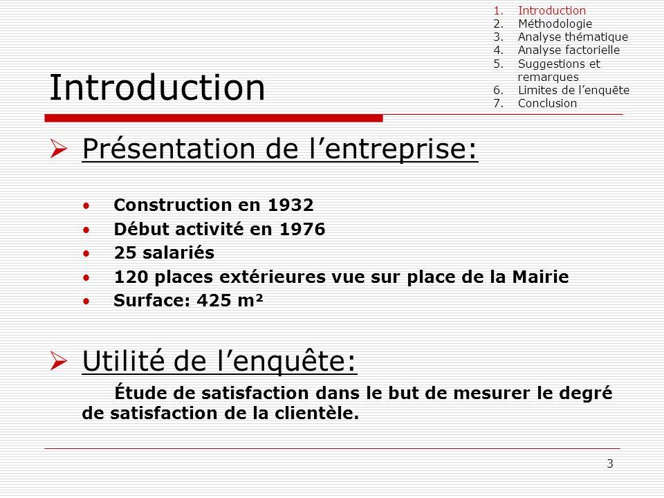 3 Introduction Présentation de lentreprise: Construction en 1932 Début activité en 1976 25 salariés 120 places extérieures vue sur place de la Mairie