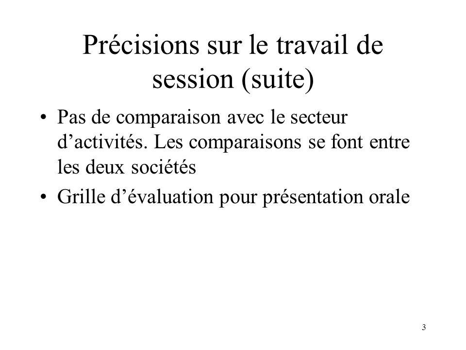 3 Précisions sur le travail de session (suite) Pas de comparaison avec le secteur dactivités.