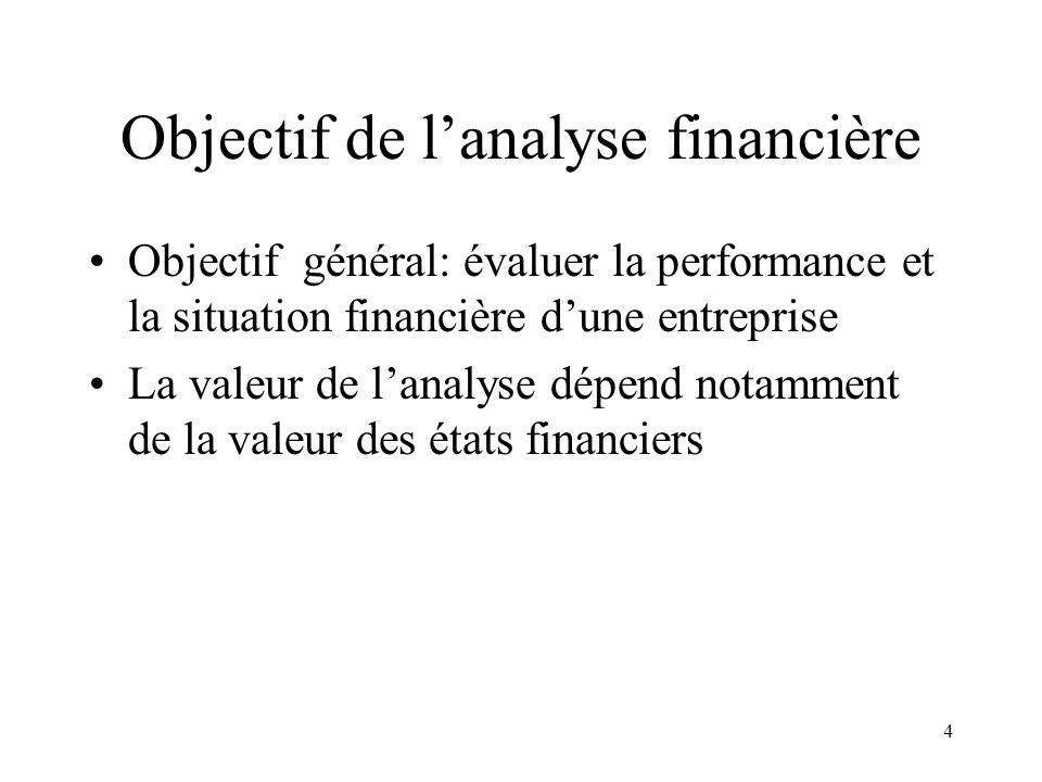 4 Objectif de lanalyse financière Objectif général: évaluer la performance et la situation financière dune entreprise La valeur de lanalyse dépend notamment de la valeur des états financiers