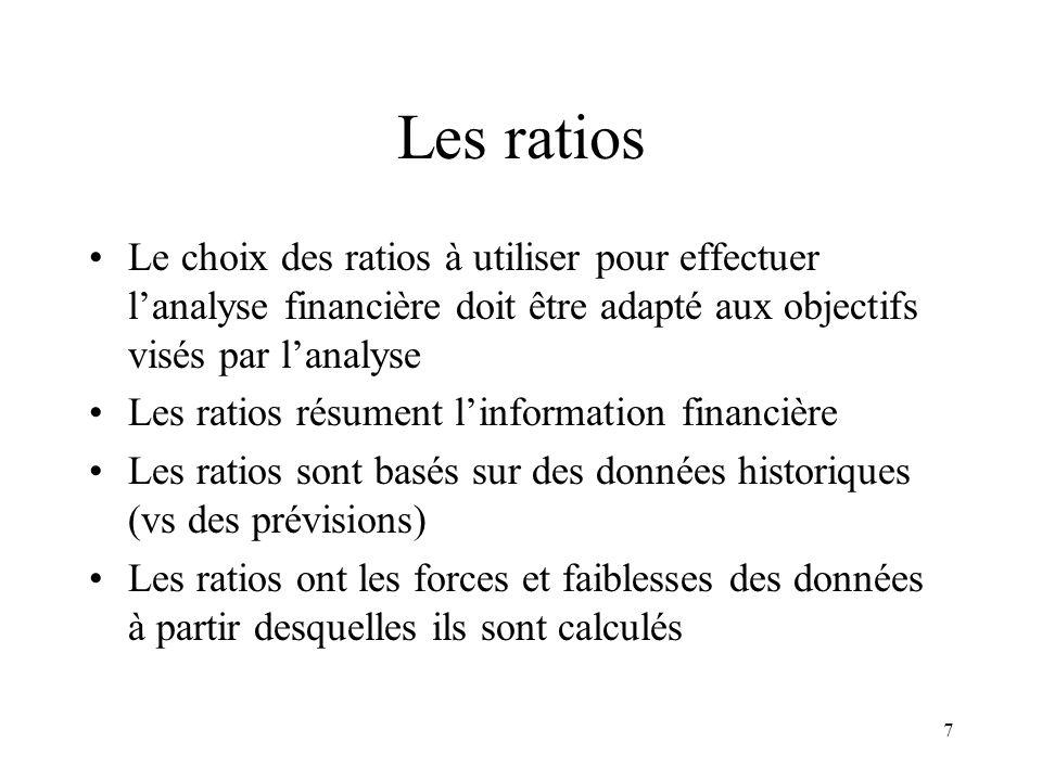 7 Les ratios Le choix des ratios à utiliser pour effectuer lanalyse financière doit être adapté aux objectifs visés par lanalyse Les ratios résument linformation financière Les ratios sont basés sur des données historiques (vs des prévisions) Les ratios ont les forces et faiblesses des données à partir desquelles ils sont calculés