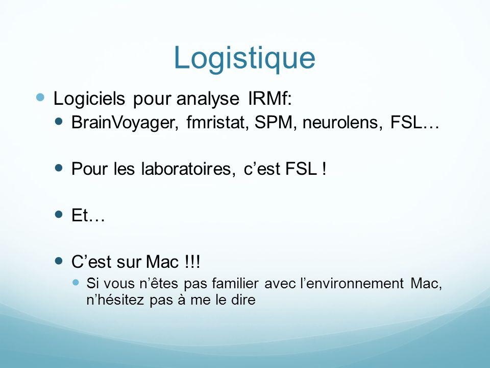Logistique Logiciels pour analyse IRMf: BrainVoyager, fmristat, SPM, neurolens, FSL… Pour les laboratoires, cest FSL ! Et… Cest sur Mac !!! Si vous nê