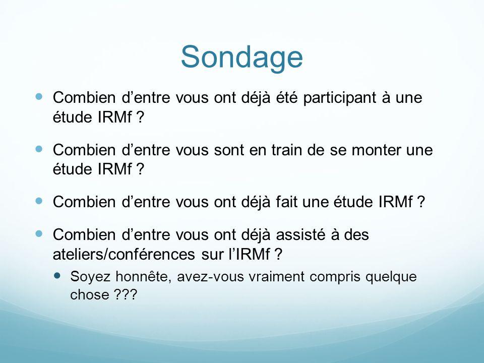 Sondage Combien dentre vous ont déjà été participant à une étude IRMf .