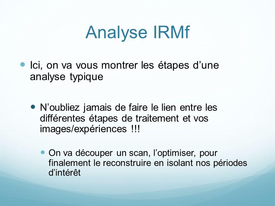 Analyse IRMf Ici, on va vous montrer les étapes dune analyse typique Noubliez jamais de faire le lien entre les différentes étapes de traitement et vos images/expériences !!.