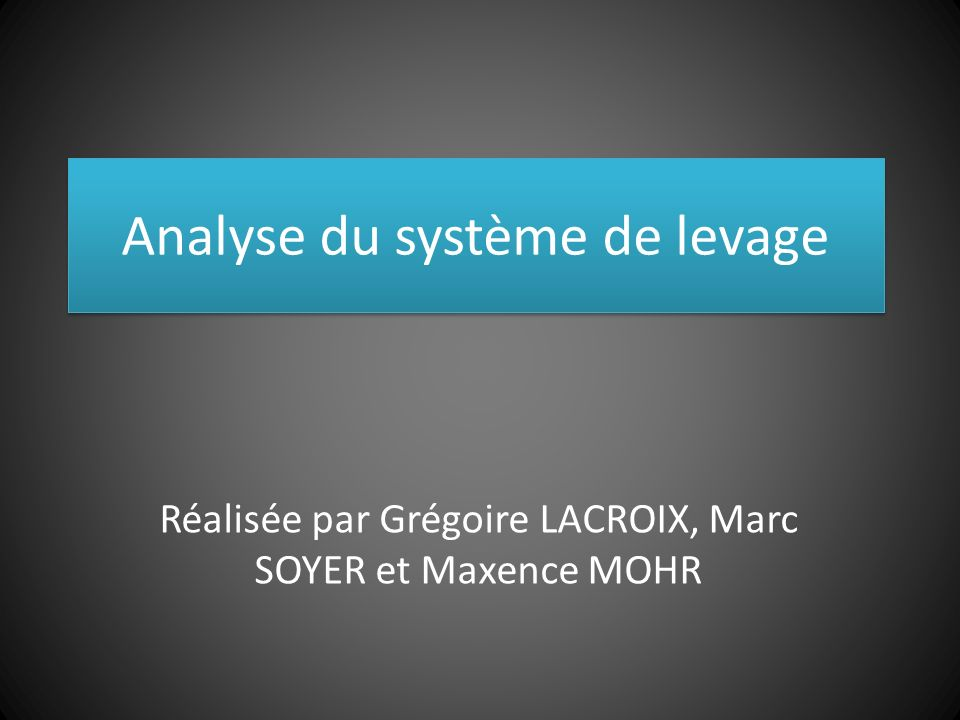 Analyse du système de levage Réalisée par Grégoire LACROIX, Marc SOYER et Maxence MOHR