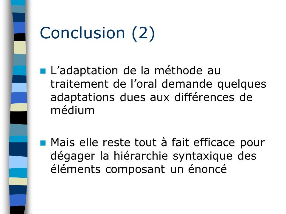 Conclusion (2) Ladaptation de la méthode au traitement de loral demande quelques adaptations dues aux différences de médium Mais elle reste tout à fai